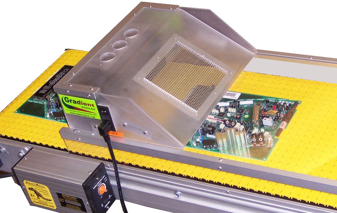 wave solder exit conveyor with gradient cooler hood