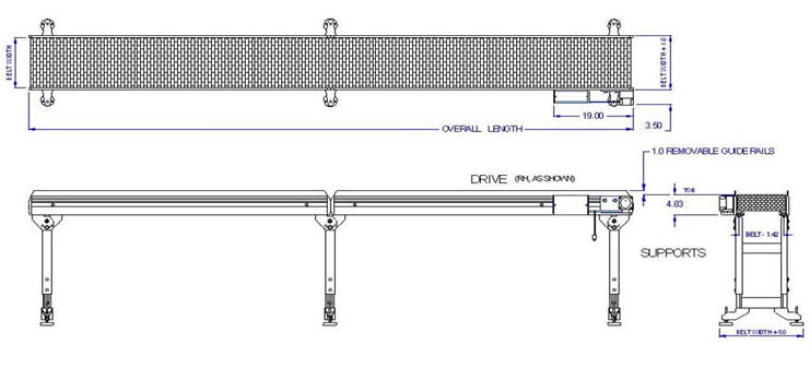 cad drawing of long line conveyor system