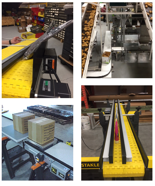 Packaging Conveyor Systems with adjustable guide rails