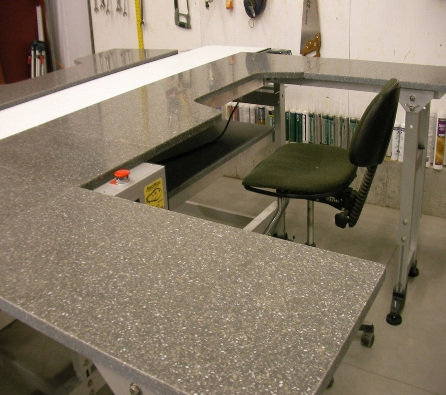 Work station conveyor with recessed belting