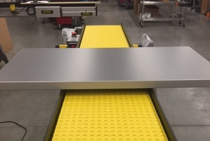 Folding work station for conveyor work surface