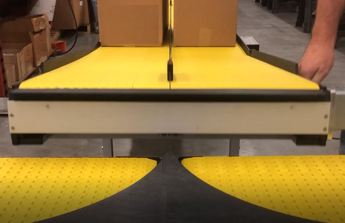 split lane conveyor for packaging