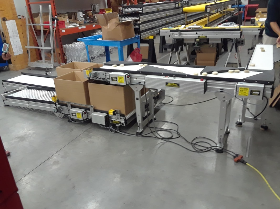 box filler conveyor with 90 degree turn
