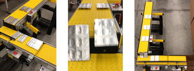 90 degree counting packaging conveyor that separates blister packs