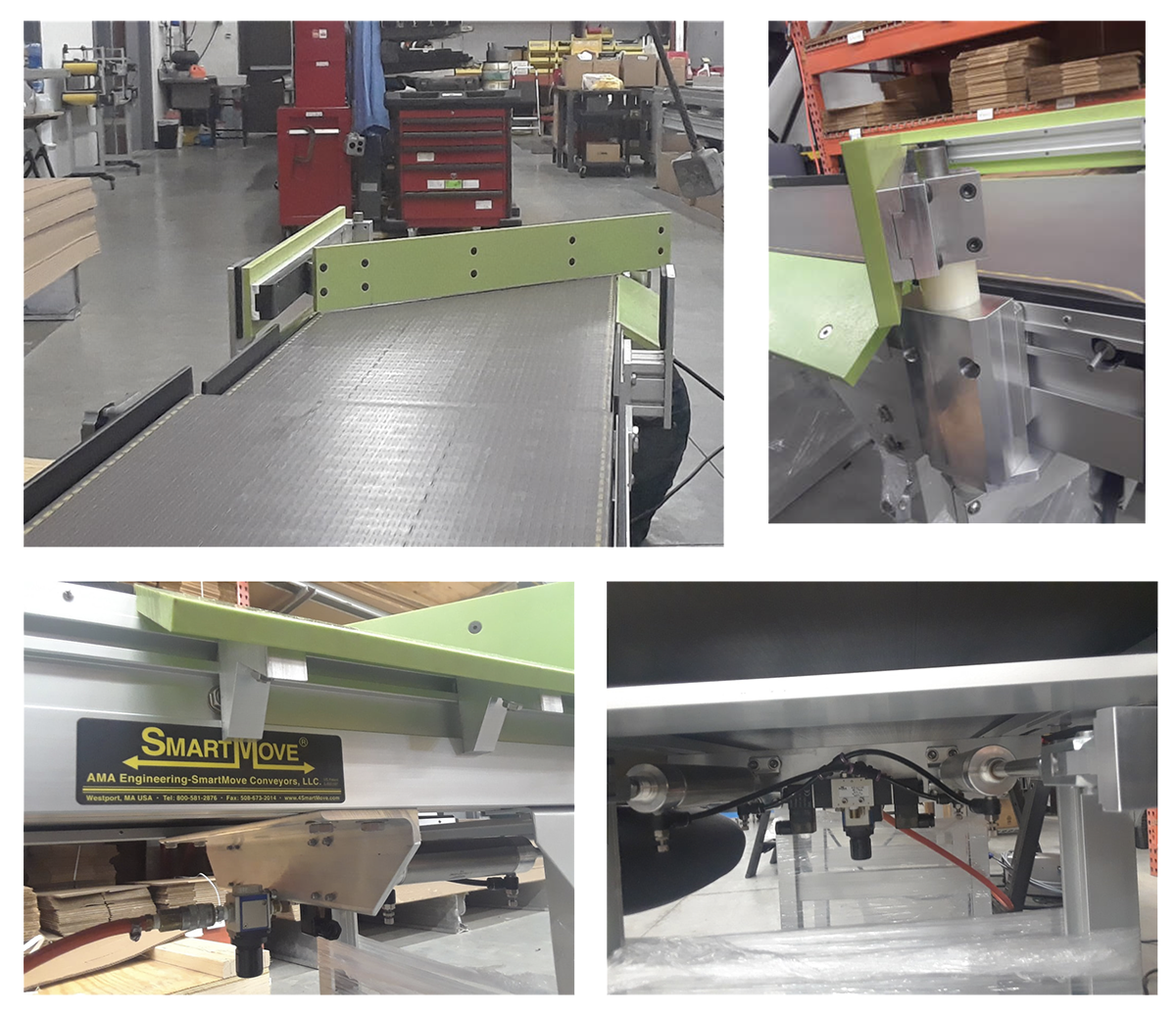 automated lane changing - pneumatic arm on conveyor