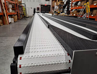 long line conveyor being tested