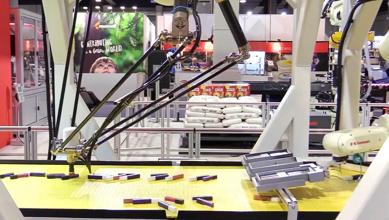 pick place robot interface with modular conveyor